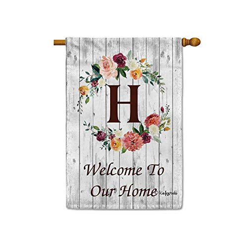 KafePross Hello Spring Flowers Summer Initial Letter Monogram H House Flag Welcome to Our Home Warminghouse Decor Banner for Outside 28X40 Inch Double Sided ()