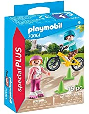 PLAYMOBIL 70061 Children with Skates and Bike,Multicoloured