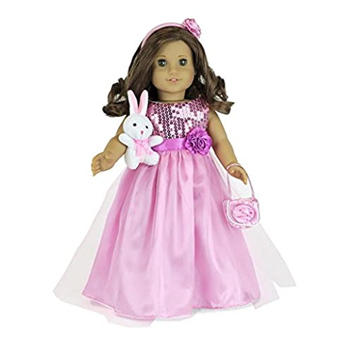 18 Inch Doll Clothes Fits American Girl Dolls: 5 Piece Easter dress - Includes Long Dress, Sparkly Slippers, Purse, Head Band, Plush Easter Bunny ALL Pcs - Purse Doll Clothes