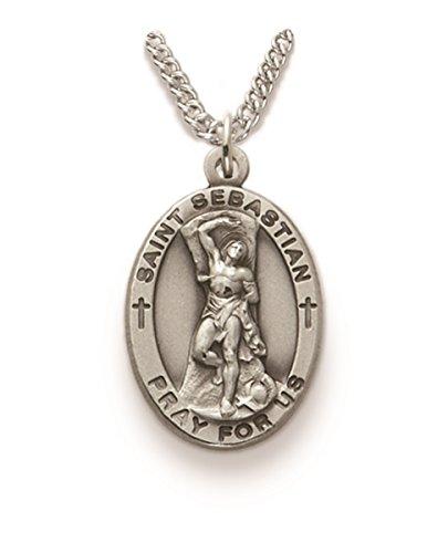 Saint Pendant Medal Sebastian (Sterling Silver Catholic Patron Saint Saint Sebastian Medal Pendant, 1 Inch)
