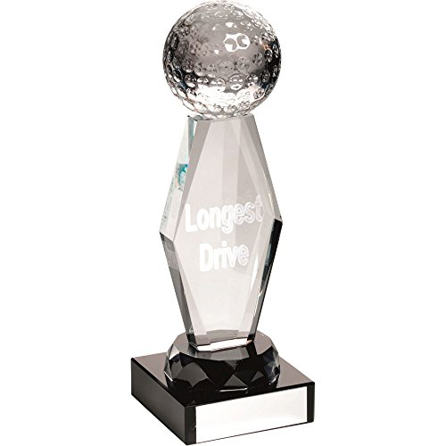 Lapal Dimension CLEAR GLASS LASERED GOLF COLUMN ON BLACK BASE - (L.D.) 7.25in