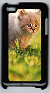 Fluffy Kitten Walking On Grass For The First Time Polycarbonate Hard Case Cover for iPod 4 ¨CBlack