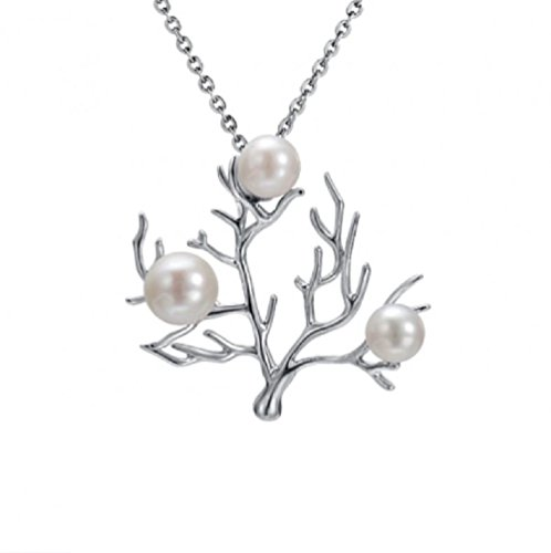 Sterling Silver Freshwater White Pearl Coral Tree Necklace Pendant with 18