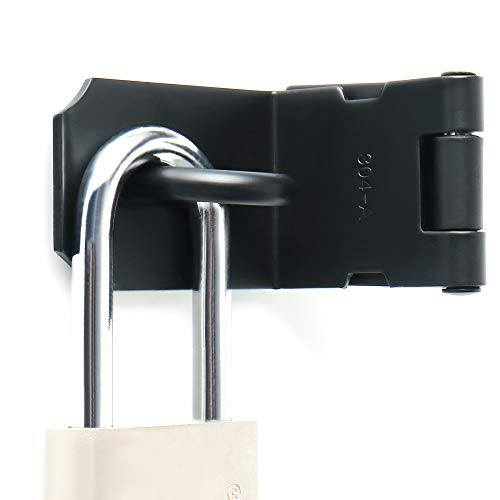 Alise MS9KB-4 Right Angle Padlock Hasp Security Door Clasp Hasp Lock Latch,Stainless Steel Matte Black Finish