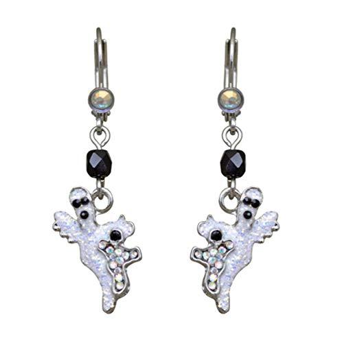 Kirks Folly Ghost Baby Leverback Earrings silvertone