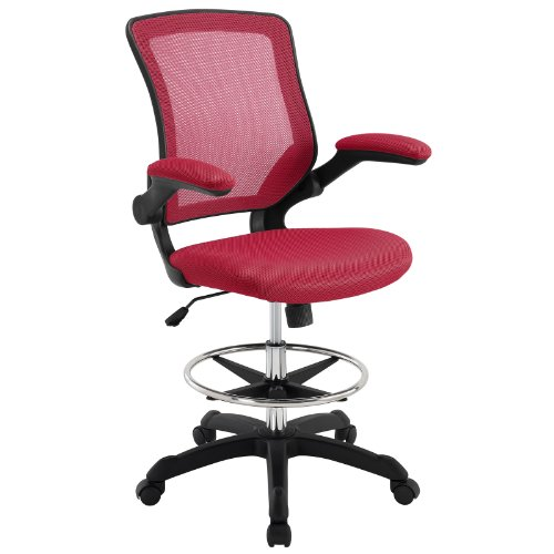 Modway Veer Drafting Chair – Reception Desk Chair – Flip-Up Arm Drafting Chair in Red