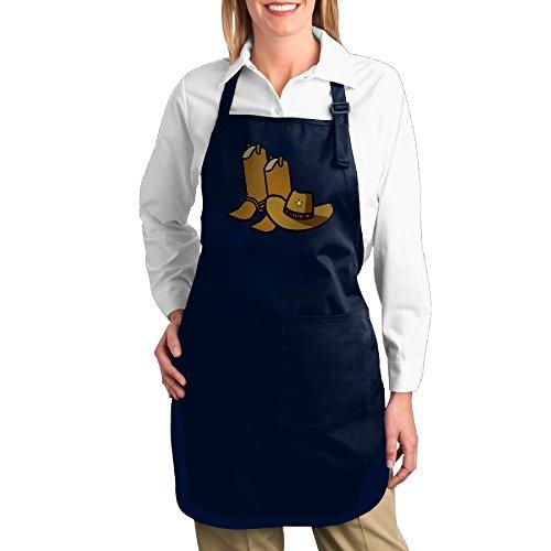 Dogquxio Cute Cowboy Hat Kitchen Helper Professional Bib Apron With 2 Pockets For Women Men Adults Navy