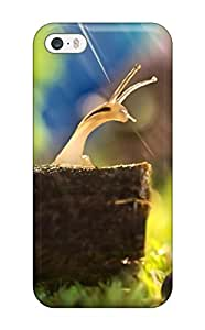 First-class Case Cover For Iphone 5/5s Dual Protection Cover Nature Animal Snail Ice Resting Rain Green