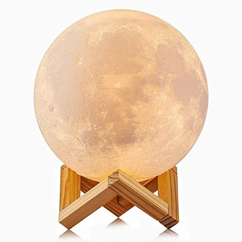 Moon Lamp (4.7'') LED Baby Night Light Table Desk Lamp USB Charging Wooden Base Touch Sensor Control 2-Colors Dimmable Switch for Bedroom Birthday Decoration ()