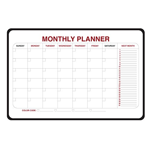 Case of 23, 24''x36'' Monthly Dry Erase Planner - Radius Corners and Black Vinyl Frame by Ghent