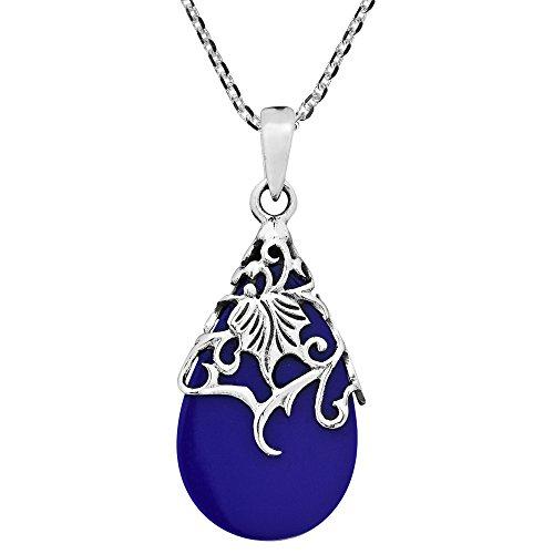 Simulated Blue Lapis-Lazuli Vintage Floral Vine Adorned Teardrop .925 Sterling Silver Pendant Necklace