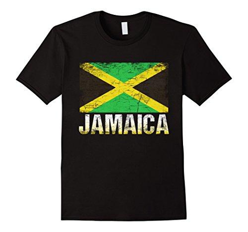 Mens Jamaican Flag T-Shirt-Jamaica Flag Tee Shirt Gift Large Black