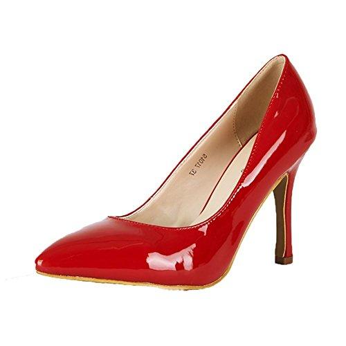 señoras del alto talón de patente Zapatos de tacón de aguja en punta del dedo del pie Red