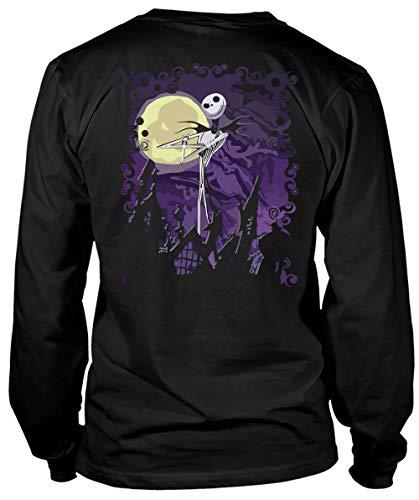 The Nightmare Before Christmas T Shirt, Jack Skellington T Shirt, Halloween T Shirt - Long Sleeve Tees (XXXL, Black) ()