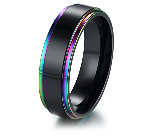 XUANPAI Stainless Steel Rainbow Edge Domed Weeding Ring Band Lesbian Gay LGBT Pride Jewelry,Size 8