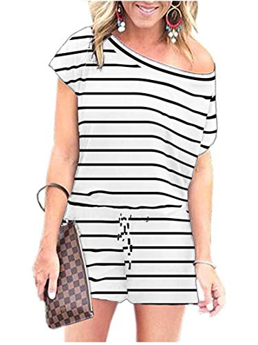 ANRABESS Women's Casual Off Shoulder Striped Jumpsuit Romper with Belt Dxie-baihei-S BYF-35]()