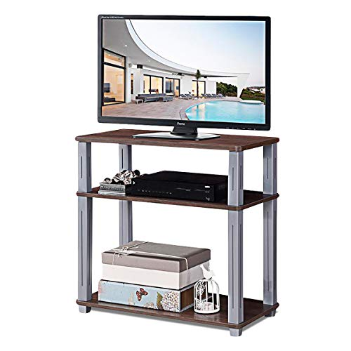 Tangkula TV Stand, 3-Tier TV Stand Storage Console with Shelves for Home Office, Sturdy Stable Construction Display Cabinet, TV Entertainment Center Console Walnut