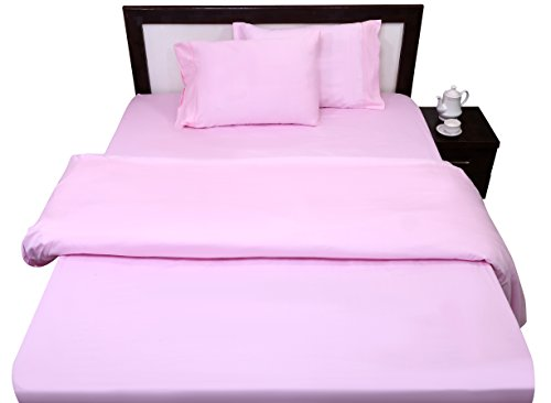 Rajlinen 100% Cotton - 400 Thread Count - 1 Qty Flat Sheet Only - Sateen Weave - King Size - Pink - My Spa Orange Touch In