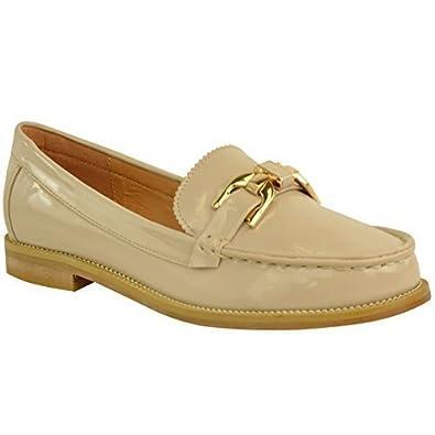 Mocasines Formales con Tacón Bajo para Mujer Colegio Zapatos Oxford Dos Tonos Talla - Charol Nude