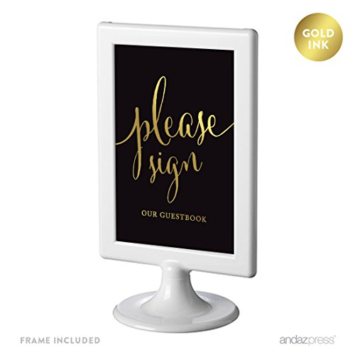 Andaz Press Wedding Framed Party Signs, Black and Metallic Gold Ink, 4x6-inch, Please Sign Our Guestbook, Double-Sided, 1-Pack, Includes Frame