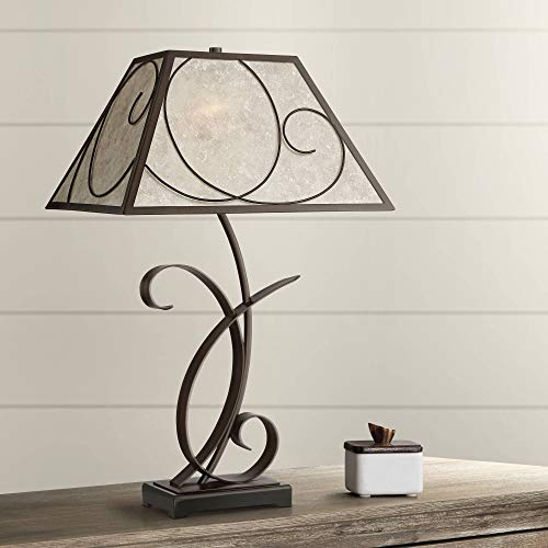 Teri Rustic Farmhouse Table Lamp Scroll Brown Metal Light Mica Tapering Shade for Living Room Bedroom Bedside Nightstand Office Family - Franklin Iron Works (Small Mica Table Lamp)