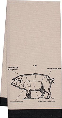 NWT Gourmet Classics Bisque PIG Chef's Cut Chart Design Kitchen Towel 20x30