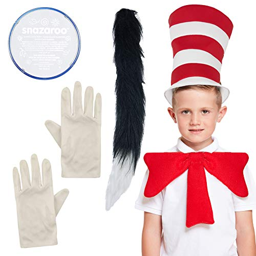 (Childrens SNAZAROO Deluxe CAT in The HAT Complete 5 Piece Set World Book Day Week Crazy Cat in The hat Costume)