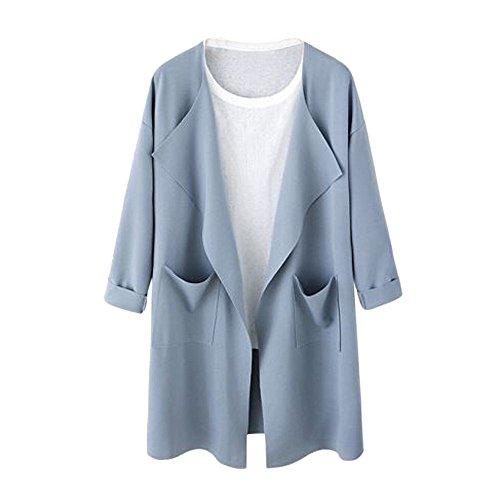 Women Jacket Ladies Causal Open Sweatshirt Long Coat Fashion Outwear Cardigan by TOPUNDE (XXX-Large, Blue) from TOPUNDER - Apparel