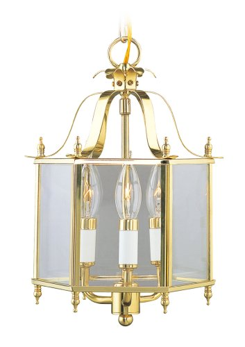 Livex Lighting 4403-02 Home Basics 3 Light Polished Brass Hanging Lantern or Flush Mount Chandelier with Clear Beveled Glass - Classic Polished Brass Lantern