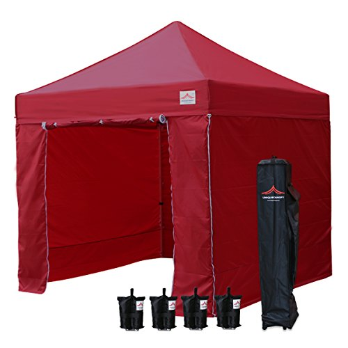 UNIQUECANOPY Classic 10x10 Ez Pop up Canopy Instant Tent Outdoor Party Portable Folded Commercial Shelter, with Wheeled Carrying Bag and 4 Removable Side Walls 4 Weight Bags Wine Red