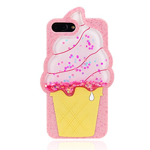 we3Dcell ice cream luxury bling silicone soft protective waterfall stars Liquid Glitter Shiny 2 in 1 removable case 3D (for iphone 7 / iphone 8)
