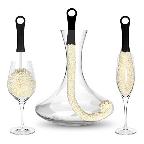 Bar Amigos Tm Set Of 3 - Decanter & Glassware Cleaning Brushes Glass Cleaning Brush For Cleaning Hard To Reach Areas Items Such As Wine Champagne Glasses Babies Bottles, Beer Steins, Neck Goblets (Rose Fluted Champagne)