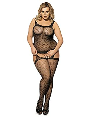 Maxde Women Sexy Lingerie Plus Size Crotchless Tights Bodysuit Body Stocking
