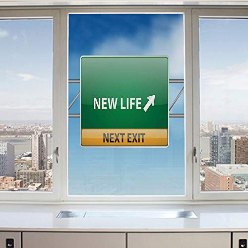 3D Decorative Privacy Window Films,New Life Concept with Road Sign on Blue Sky Next Exit,No-Glue Self Static Cling Glass Film for Home Bedroom Bathroom Kitchen Office 17.5x36 Inch