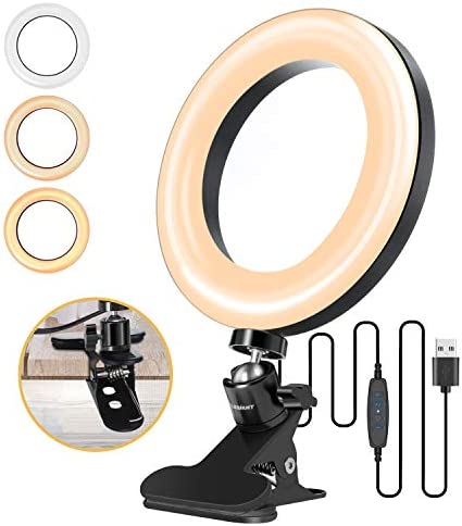 "ELEGIANT 6.3"" Selfie Ring Light with Clamp Mount for Desk, Bed, Office, Makeup, YouTube, Video, Live Steam & Broadcast, 3 Dimmable Color & 10 Brightness Level, 360 Degrees Rotatable"