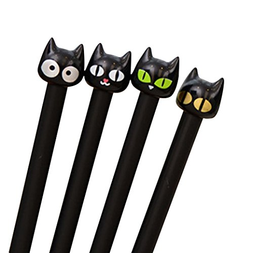 Black Cat Kawaii Gel Ink Rollerball Pens, with 0.5mm Extra Fine Point, Black Ink, 4-Pack, SUPPION Stationery for Students Gifts