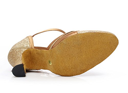 Jazz Women's Dance Latin Our34 Gold Tea Heels JSHOE heeled6cm EU33 Toe Samba Shoes Salsa High Sandals UK3 Round Modern Sequins Shoes Tango 7IXXxd