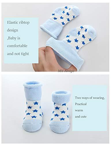 XM-Amigo 10 pares de calcetines c/álidos para beb/é 0-36 meses calcetines de algod/ón c/álido de rizo calcetines el/ásticos para reci/én nacidos unisex con pu/ño de giro suave