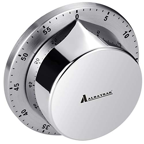Albayrak Kitchen Timer, Chef Cooking Timer Clock with Loud Alarm, No Batteries Required, 100% Mechanical - Magnetic Backing, Exquisite Stainless Steel Body - Countdown Reminder - Silver 1Pack