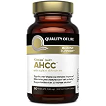 Premium Kinoko Gold AHCC Supplement–500mg of AHCC per Capsule–Supports Immune Health, Liver Function, Maintains Natural Killer Cell Activity & Enhances Cytokine Production–60 Veggie Capsules