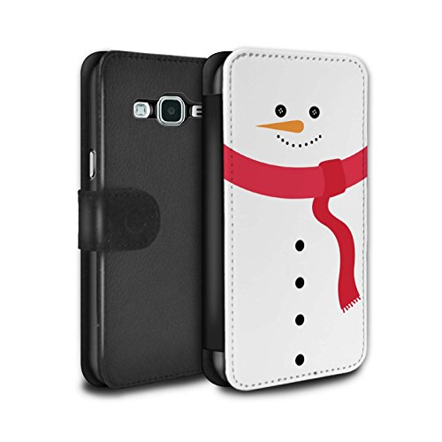 STUFF4 PU Leather Wallet Flip Case/Cover for Samsung Galaxy Grand Prime / Snowman Design / Christmas Character Collection - Grand Snowman