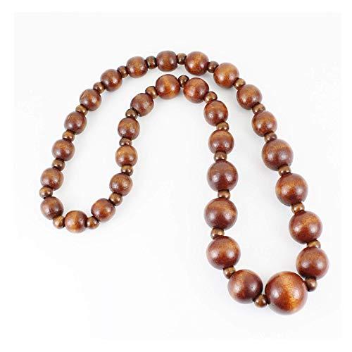 (Dark Brown Wood Big Chunky Bead Long 23