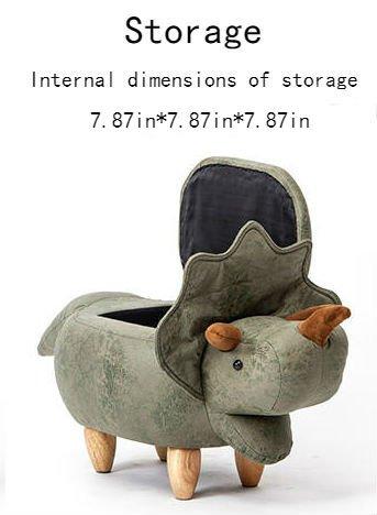 Storage Ottoman Dinosaur/Animal Modeling Decorative Furniture Storage Shoes  Changing(Storage Green)
