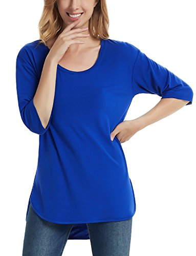 Perfashion Womens Half Sleeves Casual Cotton T-Shirt Loose Scoop Neck Tops