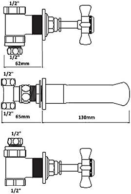 ENKI grifo mezclador para pared con mandos en cruz para ba/ño bronce ETON