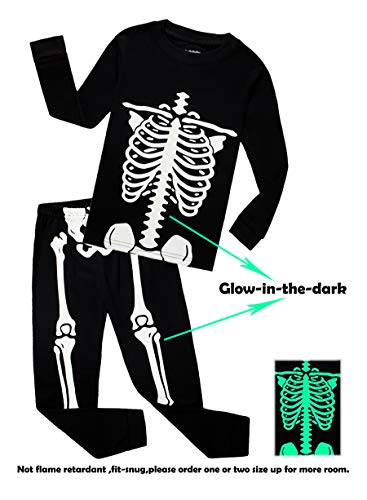 Winging Day Baby Infant Boys Girls Golw-in-The-Dark Skeleton Halloween Costumes Pajamas Sets Long Sleeve Kids Toddler Pjs Size 12-18 Months
