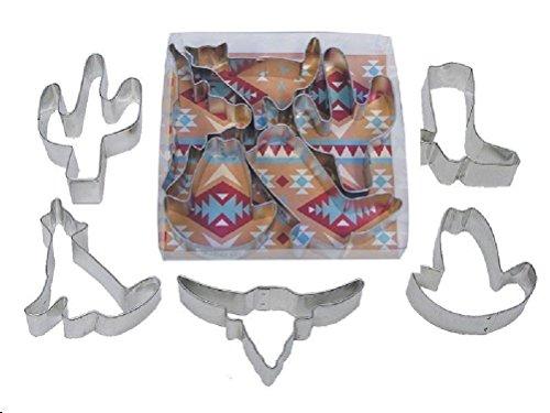 Southwest Set Cookie Cutters 5 pc. Longhorn Cactus Coyote Cowboy Hat (Diy Cowboy Hat)