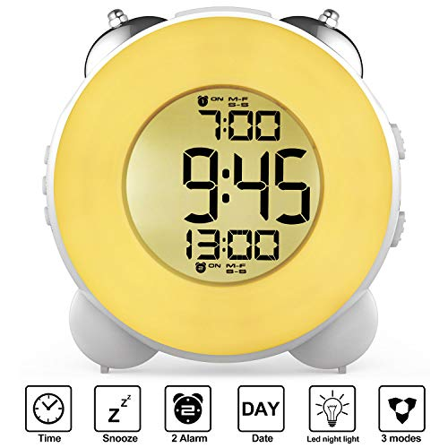 Banne Loud Alarm Clock Optional Alarm Dual Alarm Setting Snooze Function Night Light Bedside Battery Powered Clock (White)