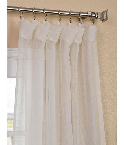 "HPD Half Price Drapes SHLNCH-J0105-96 Linen Sheer Curtain, 50 x 96, Open Weave Cream - Sold Per Panel 3"" Pole pocket Dry Clean Only - living-room-soft-furnishings, living-room, draperies-curtains-shades - 41XV0eetE%2BL -"