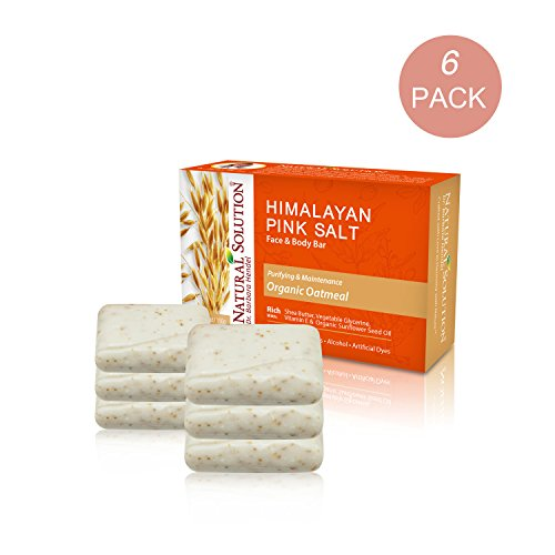 Oatmeal Bath Bar - Natural Solution 100% Natural Organic Oatmeal face & Body Bar, 5.2 oz Soap Bar for All Skins Type. (Pack of 6)